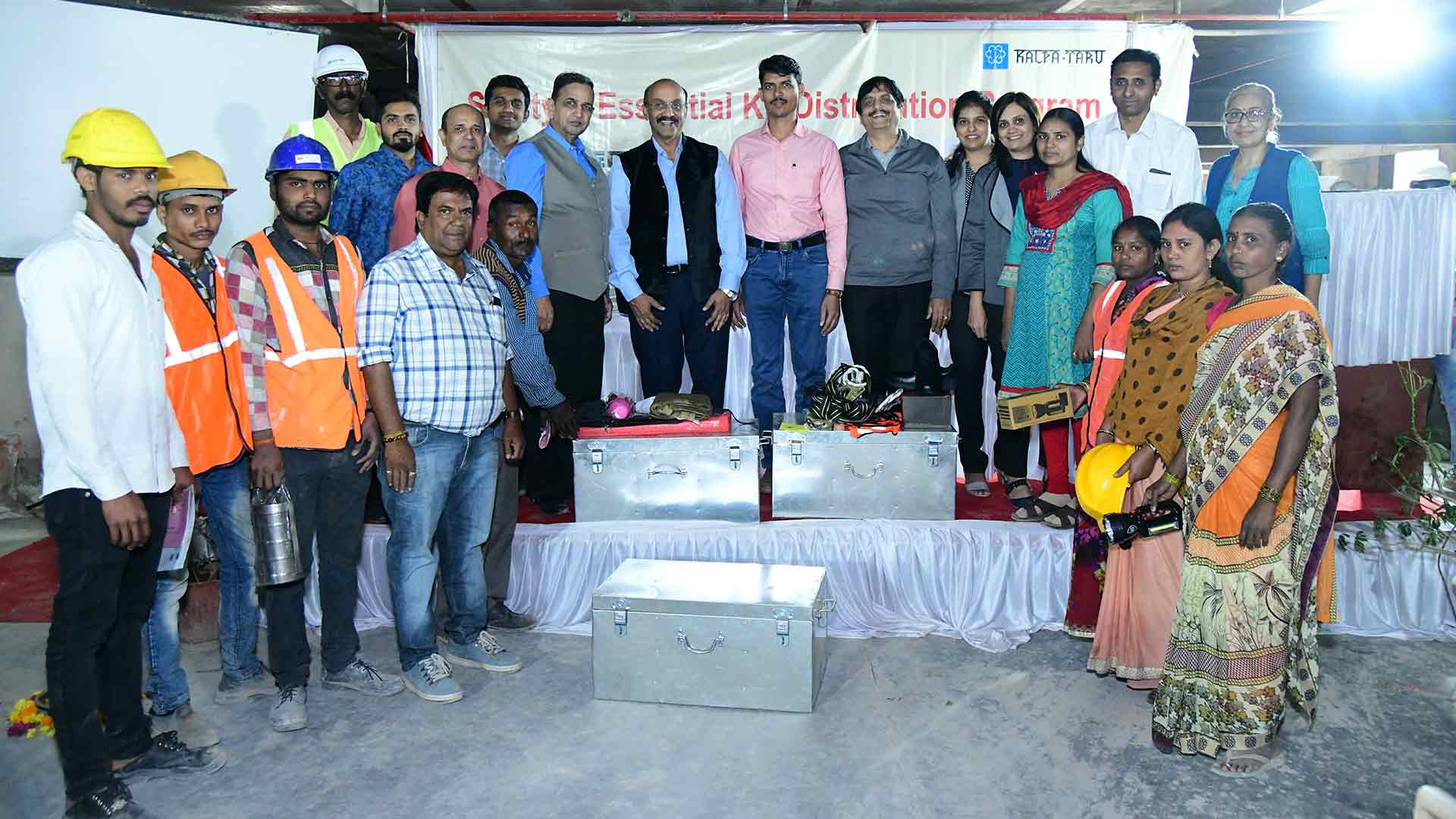 Inauguration of Safety and Essential Kit Distribution Program at Kalpataru Jade Site of Kalpataru Group at Baner on 10th Jan, 2019- 120 Kits were dist