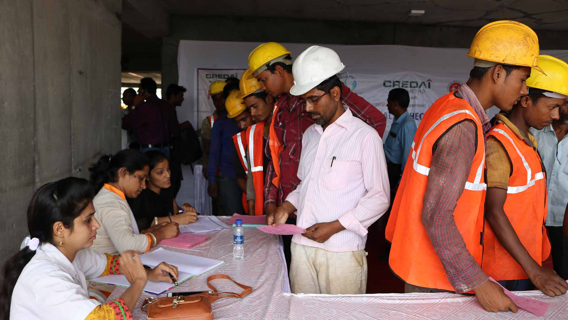 Health Check-up Camp Under National Health Mission for Construction Workers Jointly with  PMC Conducted at Gangadham Towers of Goel Ganga Group